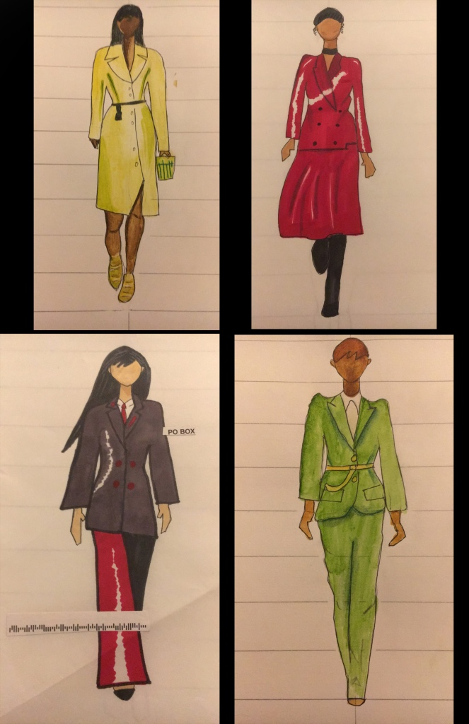 These are some fashion sketches I did in a fashion sketching class. They are a combination of alcohol marker and watercolor.