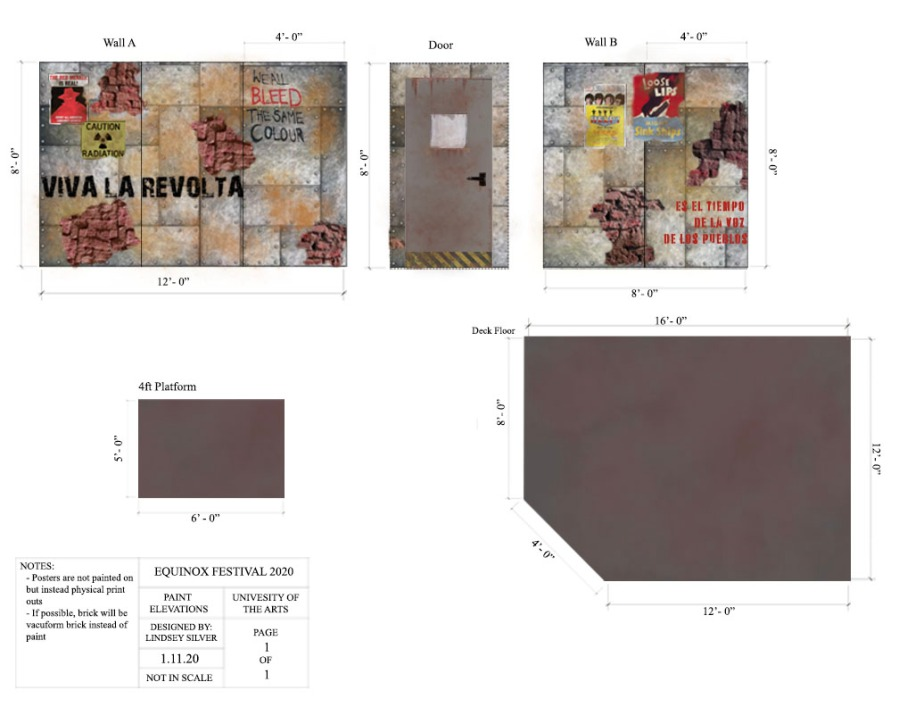 Equinox; New Play Festival 2020 Scenic Design Paint Elevations