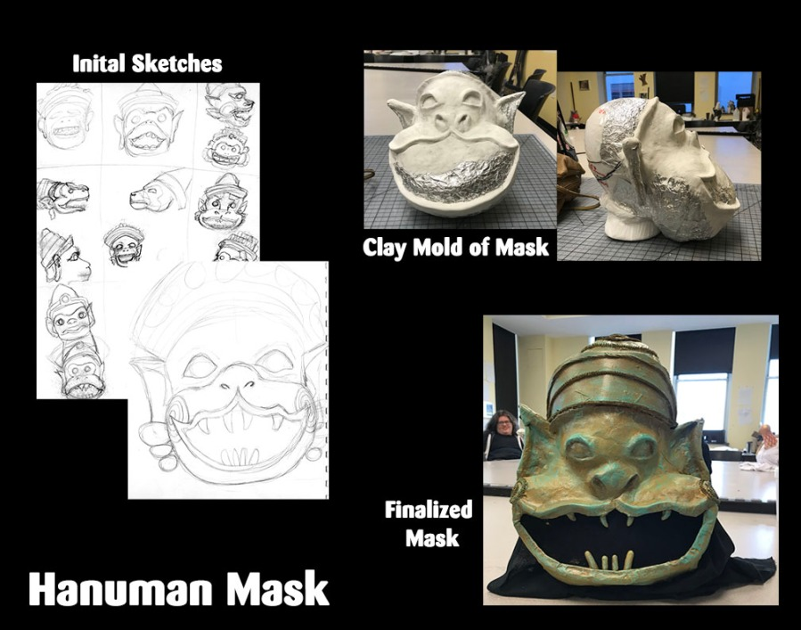 Hanuman Mask, Intro to Design 2020 Professor: Nicholas Embree Mask positive: Aluminum foil, air-dry clay Finished mask: Paper mache, air-dry clay, craft foam