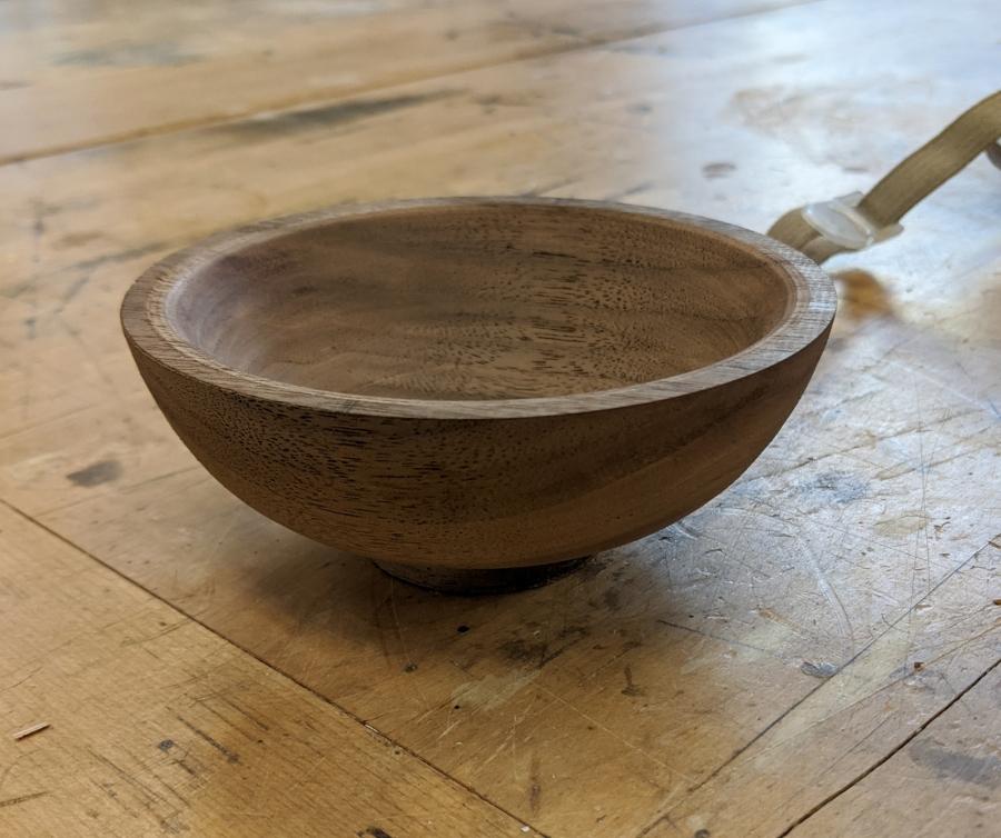 Lathe turned walnut bowl
