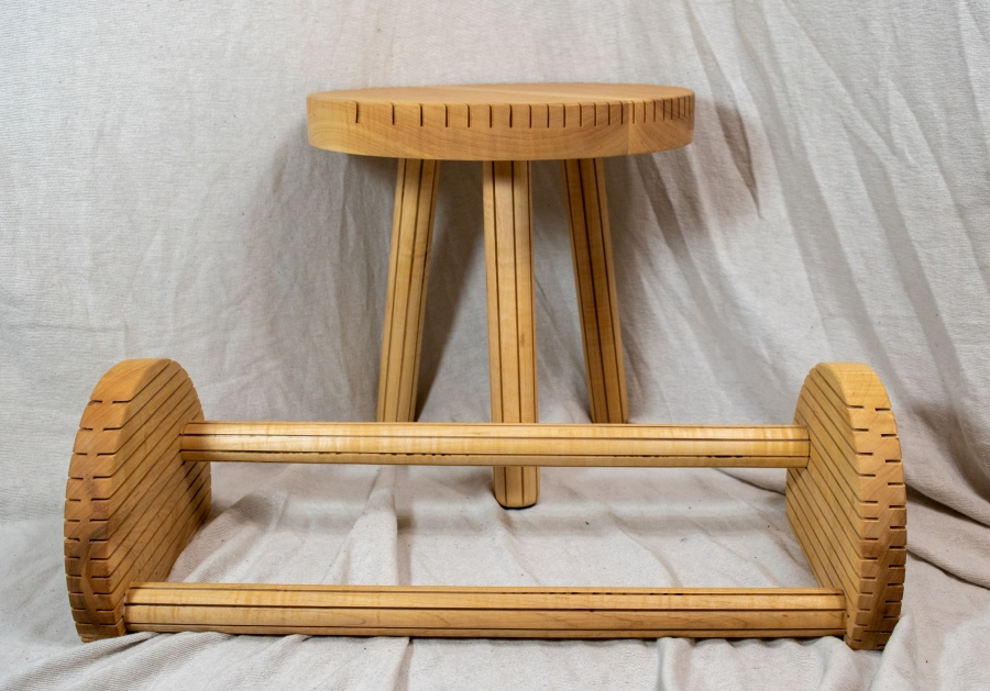 Entryway Combo. Curly maple stool and shoe rack.